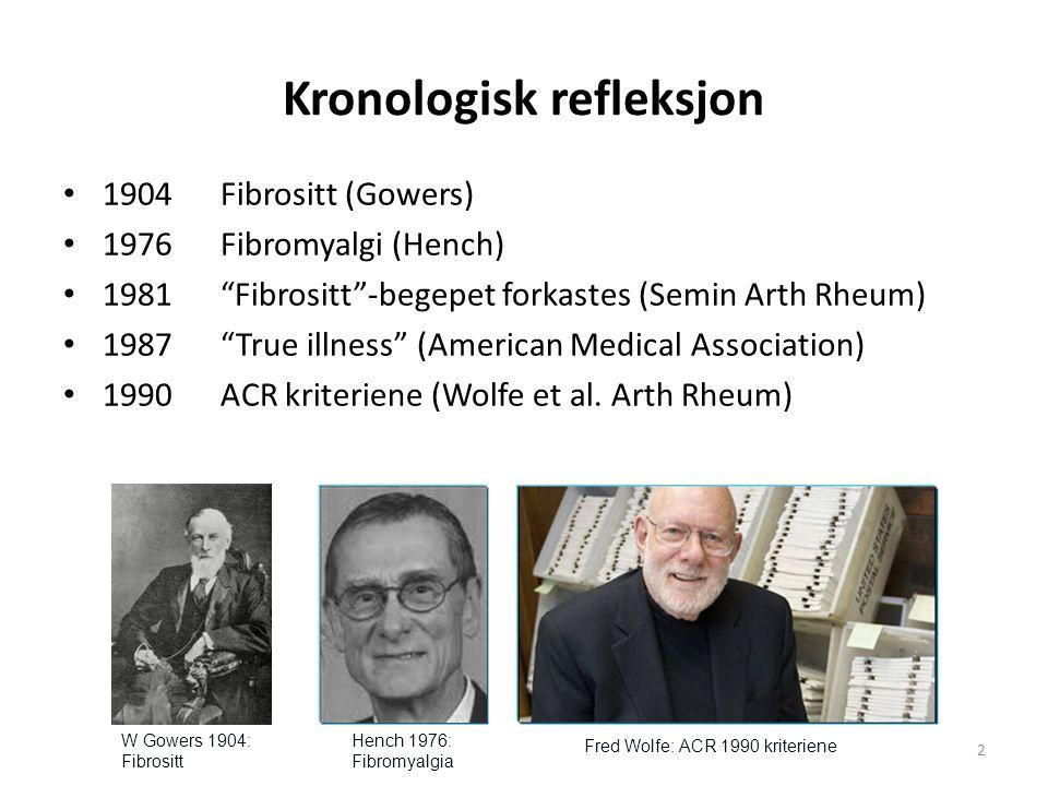 Kronologisk refleksjon, videre: 1904 Fibrositit Gowers 1976 Fibromyalgi Hench 1981 Fibrositt -begepet forkastes Semin Arth Rheum 1987 True illness Am Medic Associ 1990ACR kriteriene Wolfe et al.
