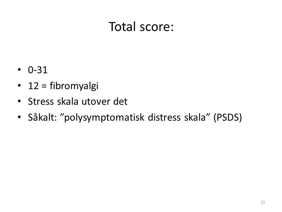 Total score: 0-31 12 = fibromyalgi Stress skala utover det Såkalt: polysymptomatisk distress skala (PSDS) 25