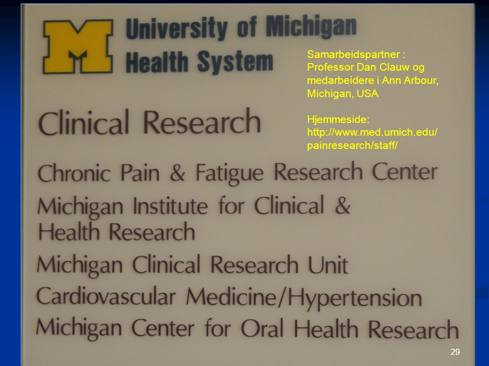 Samarbeidspartner : Professor Dan Clauw og medarbeidere i Ann Arbour, Michigan, USA Hjemmeside: http://www.med.umich.edu/ painresearch/staff/ 29