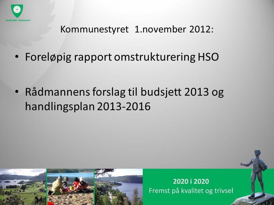 Kommunestyret 1.november 2012: Foreløpig rapport omstrukturering HSO Rådmannens forslag til budsjett 2013 og handlingsplan 2013-2016