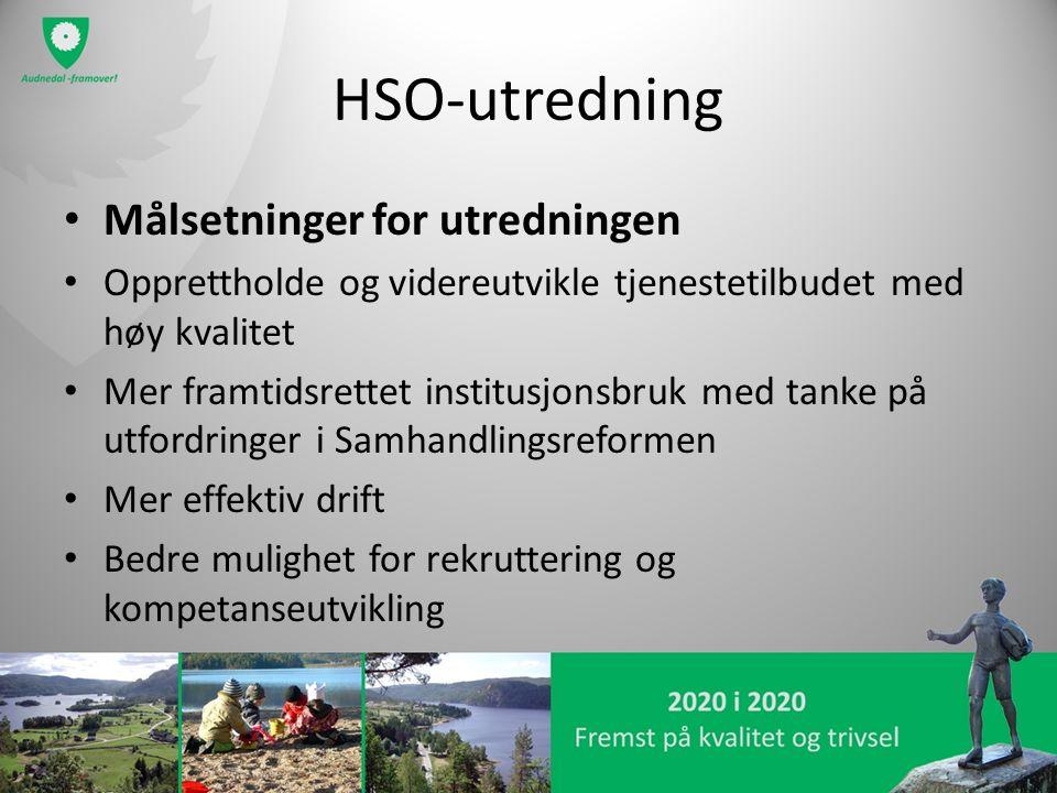HSO-utredning Målsetninger for utredningen Opprettholde og videreutvikle tjenestetilbudet med høy kvalitet Mer framtidsrettet institusjonsbruk med tan