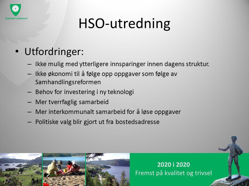 HSO-utredning Utfordringer: – Ikke mulig med ytterligere innsparinger innen dagens struktur. – Ikke økonomi til å følge opp oppgaver som følge av Samh