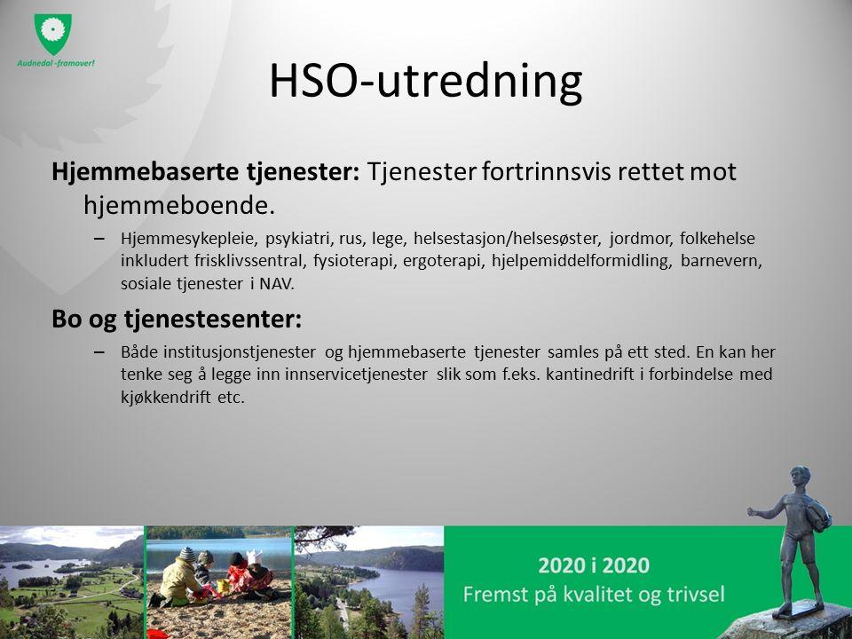 HSO-utredning Hjemmebaserte tjenester: Tjenester fortrinnsvis rettet mot hjemmeboende. – Hjemmesykepleie, psykiatri, rus, lege, helsestasjon/helsesøst