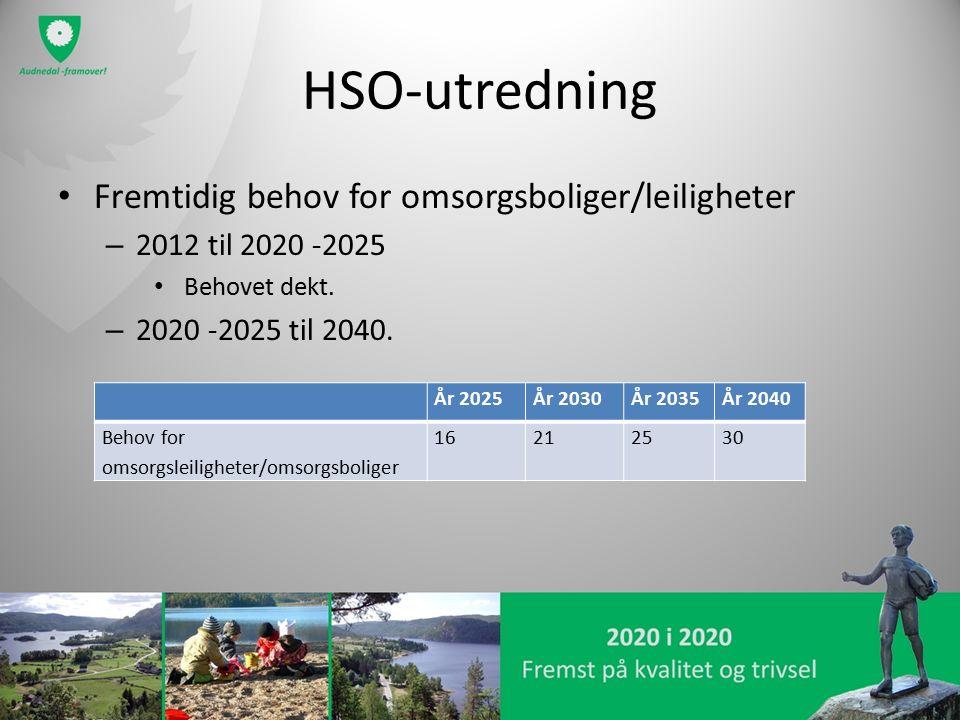 HSO-utredning Fremtidig behov for omsorgsboliger/leiligheter – 2012 til 2020 -2025 Behovet dekt. – 2020 -2025 til 2040. År 2025År 2030År 2035År 2040 B