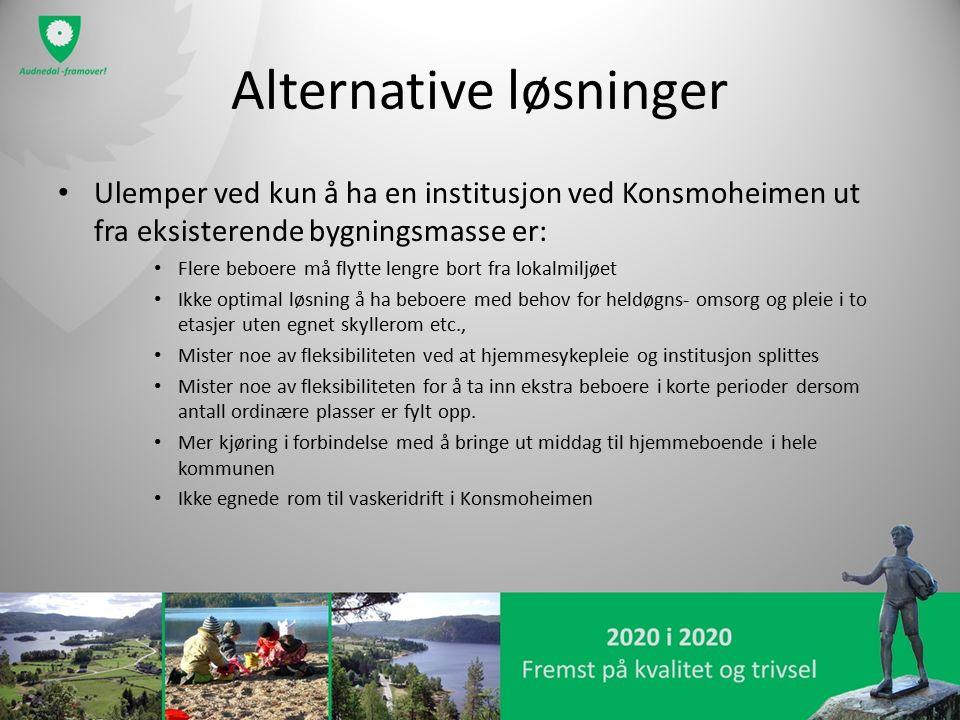 Alternative løsninger Ulemper ved kun å ha en institusjon ved Konsmoheimen ut fra eksisterende bygningsmasse er: Flere beboere må flytte lengre bort f