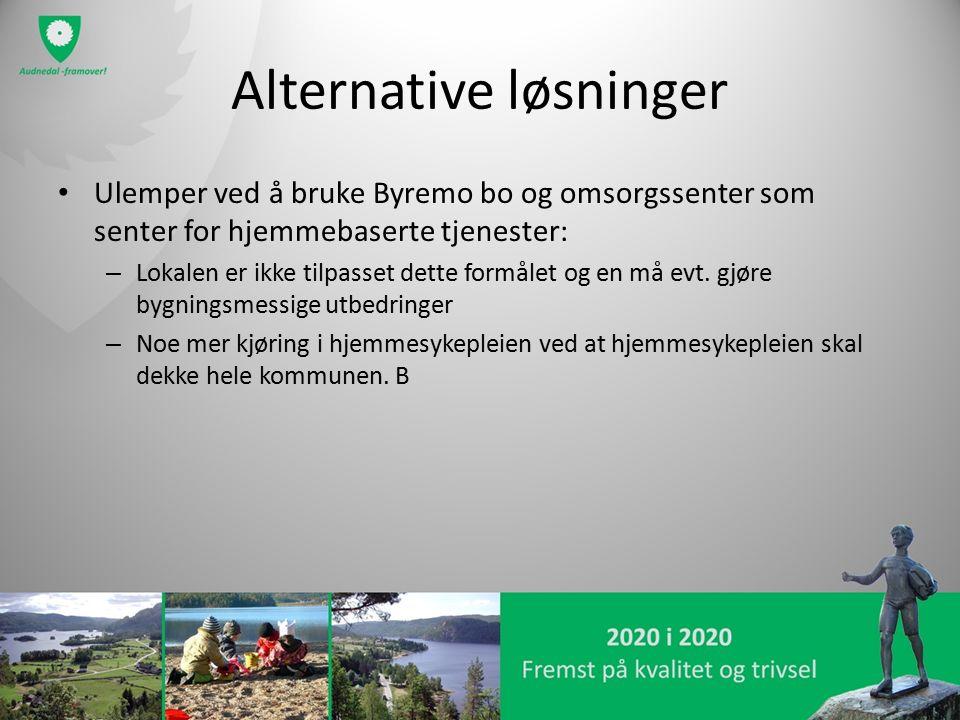 Alternative løsninger Ulemper ved å bruke Byremo bo og omsorgssenter som senter for hjemmebaserte tjenester: – Lokalen er ikke tilpasset dette formålet og en må evt.