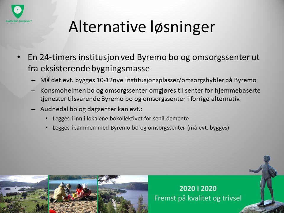 Alternative løsninger En 24-timers institusjon ved Byremo bo og omsorgssenter ut fra eksisterende bygningsmasse – Må det evt. bygges 10-12nye institus
