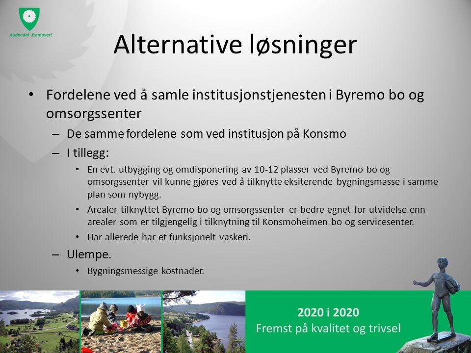 Alternative løsninger Fordelene ved å samle institusjonstjenesten i Byremo bo og omsorgssenter – De samme fordelene som ved institusjon på Konsmo – I tillegg: En evt.