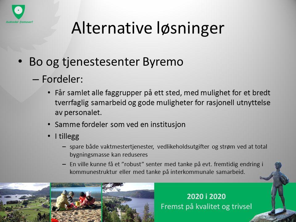 Alternative løsninger Bo og tjenestesenter Byremo – Fordeler: Får samlet alle faggrupper på ett sted, med mulighet for et bredt tverrfaglig samarbeid