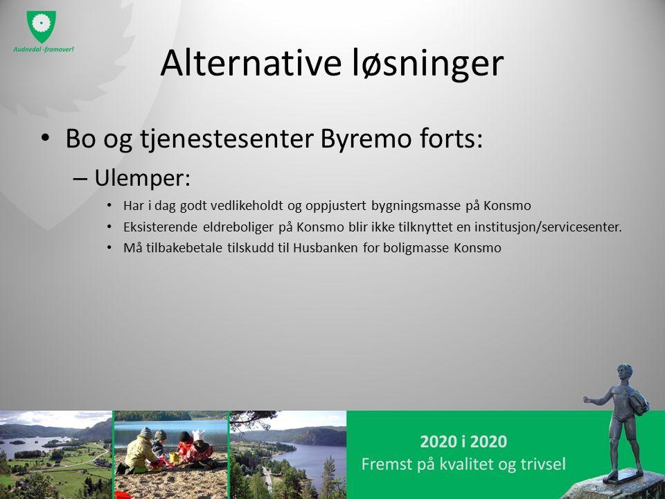Alternative løsninger Bo og tjenestesenter Byremo forts: – Ulemper: Har i dag godt vedlikeholdt og oppjustert bygningsmasse på Konsmo Eksisterende eld
