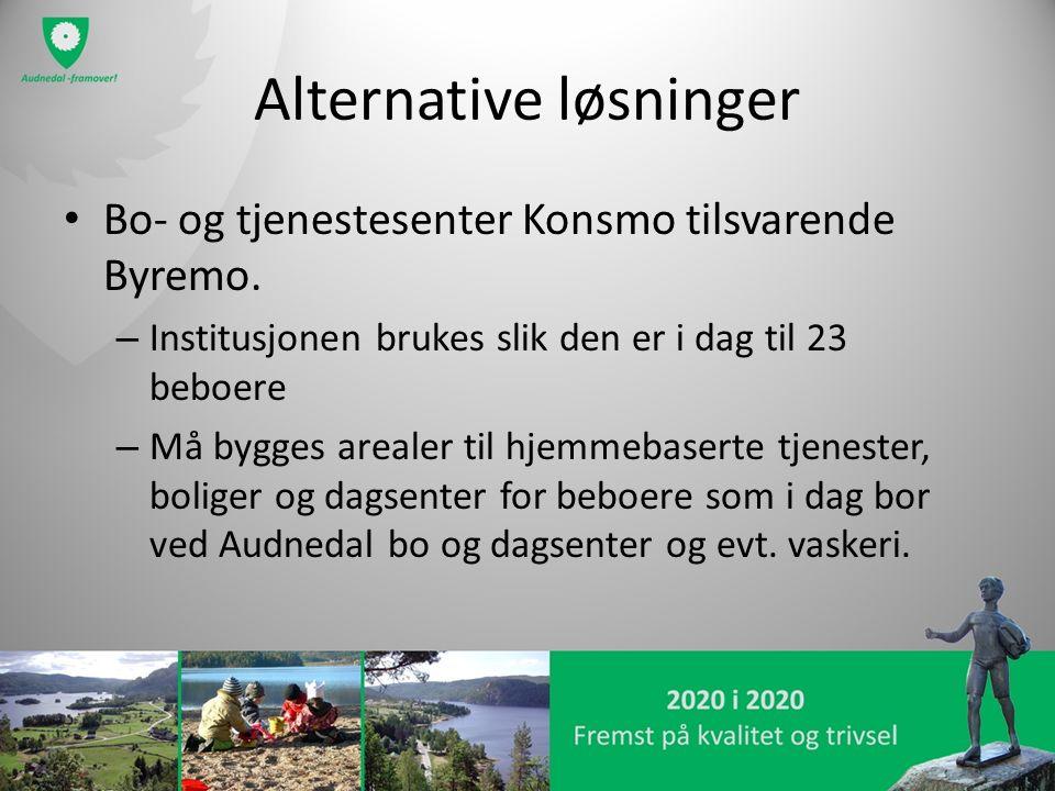 Alternative løsninger Bo- og tjenestesenter Konsmo tilsvarende Byremo. – Institusjonen brukes slik den er i dag til 23 beboere – Må bygges arealer til