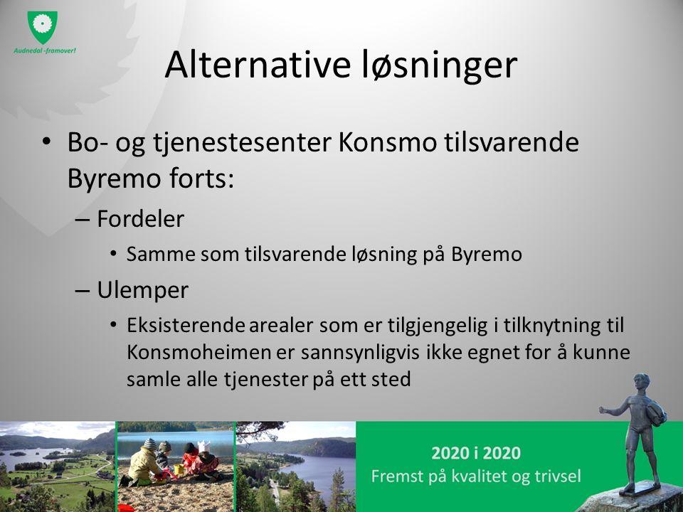 Alternative løsninger Bo- og tjenestesenter Konsmo tilsvarende Byremo forts: – Fordeler Samme som tilsvarende løsning på Byremo – Ulemper Eksisterende