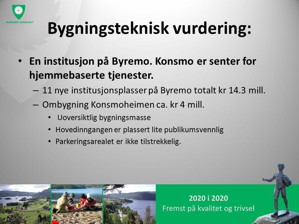 Bygningsteknisk vurdering: En institusjon på Byremo. Konsmo er senter for hjemmebaserte tjenester. – 11 nye institusjonsplasser på Byremo totalt kr 14