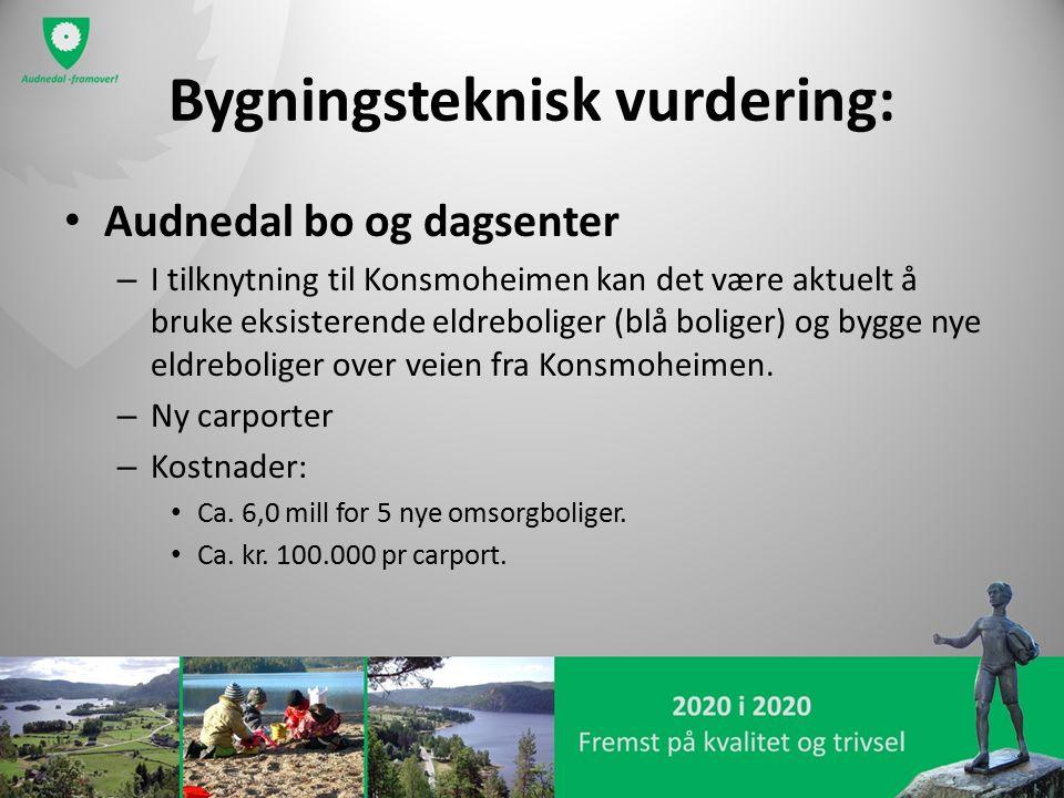 Bygningsteknisk vurdering: Audnedal bo og dagsenter – I tilknytning til Konsmoheimen kan det være aktuelt å bruke eksisterende eldreboliger (blå boliger) og bygge nye eldreboliger over veien fra Konsmoheimen.