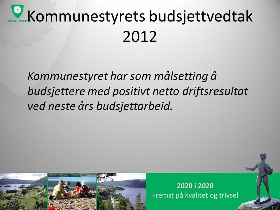 Kommunestyrets budsjettvedtak 2012 Kommunestyret har som målsetting å budsjettere med positivt netto driftsresultat ved neste års budsjettarbeid.