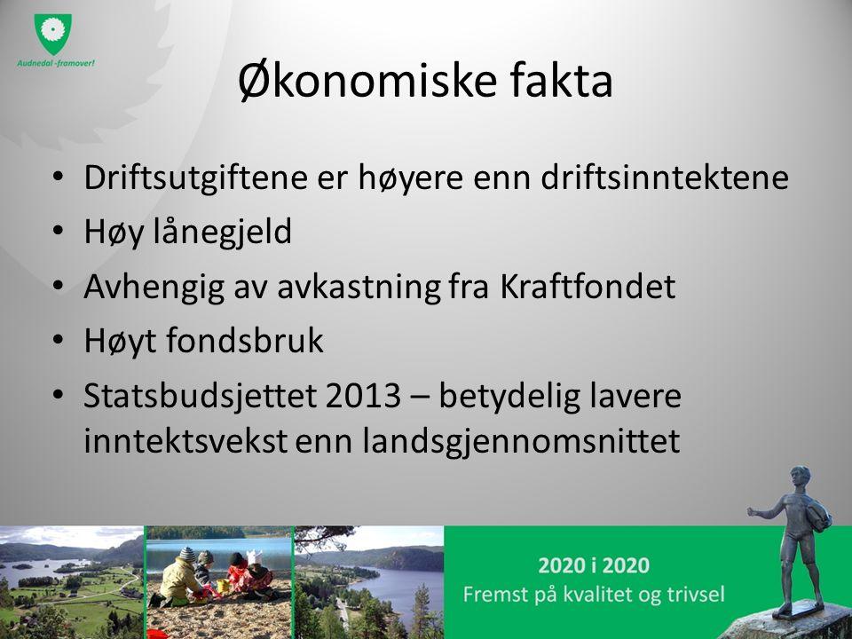 Økonomiske fakta Driftsutgiftene er høyere enn driftsinntektene Høy lånegjeld Avhengig av avkastning fra Kraftfondet Høyt fondsbruk Statsbudsjettet 20