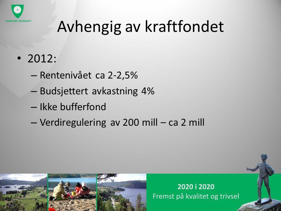 Avhengig av kraftfondet 2012: – Rentenivået ca 2-2,5% – Budsjettert avkastning 4% – Ikke bufferfond – Verdiregulering av 200 mill – ca 2 mill