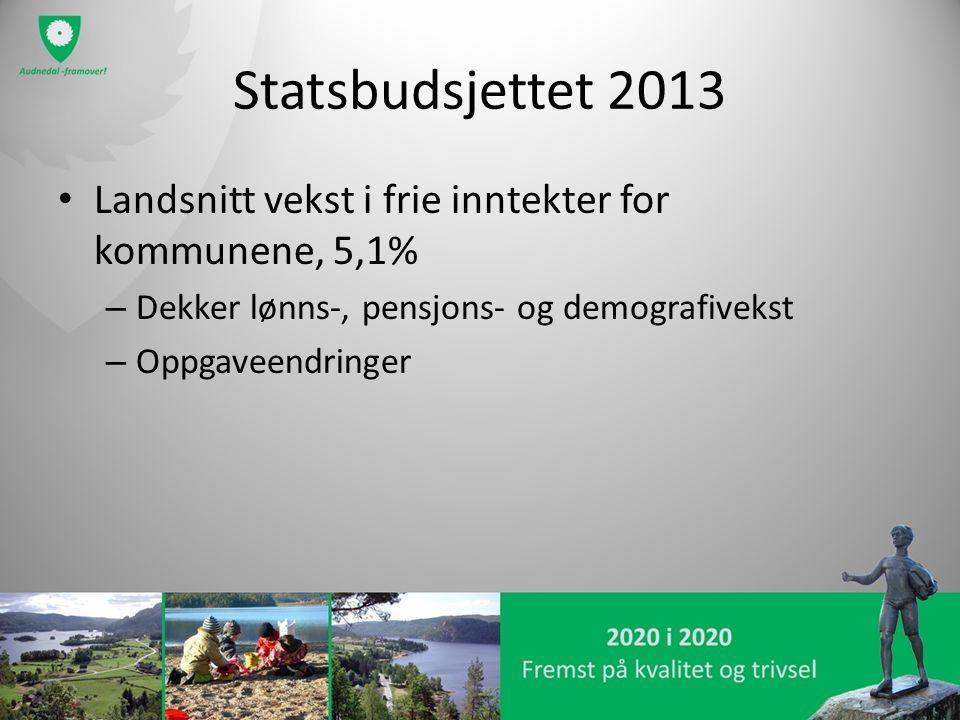 Statsbudsjettet 2013 Landsnitt vekst i frie inntekter for kommunene, 5,1% – Dekker lønns-, pensjons- og demografivekst – Oppgaveendringer