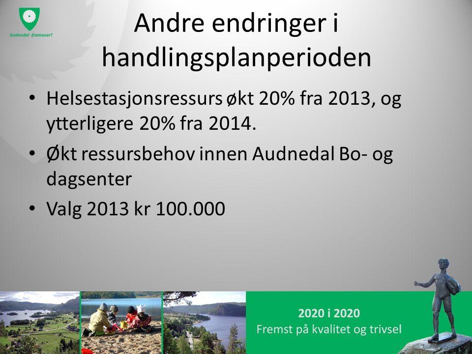 Andre endringer i handlingsplanperioden Helsestasjonsressurs økt 20% fra 2013, og ytterligere 20% fra 2014. Økt ressursbehov innen Audnedal Bo- og dag