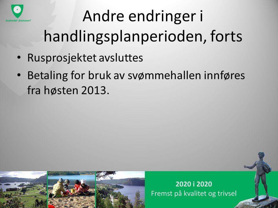 Andre endringer i handlingsplanperioden, forts Rusprosjektet avsluttes Betaling for bruk av svømmehallen innføres fra høsten 2013.