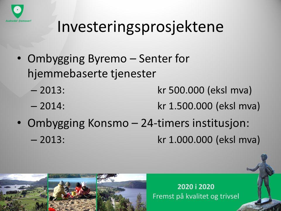 Investeringsprosjektene Ombygging Byremo – Senter for hjemmebaserte tjenester – 2013: kr 500.000 (eksl mva) – 2014:kr 1.500.000 (eksl mva) Ombygging K