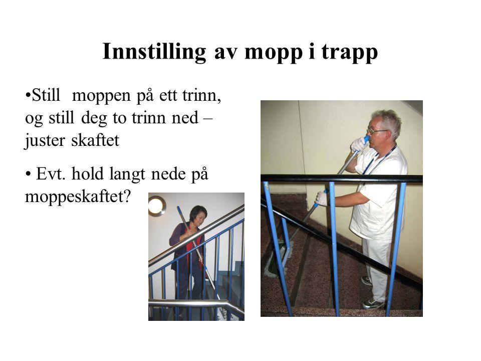Innstilling av mopp i trapp Still moppen på ett trinn, og still deg to trinn ned – juster skaftet Evt. hold langt nede på moppeskaftet?