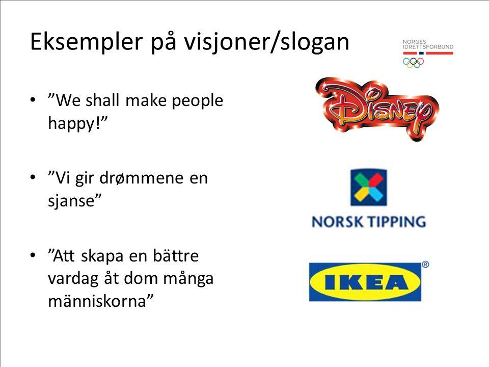Eksempler på visjoner/slogan We shall make people happy! Vi gir drømmene en sjanse Att skapa en bättre vardag åt dom många människorna