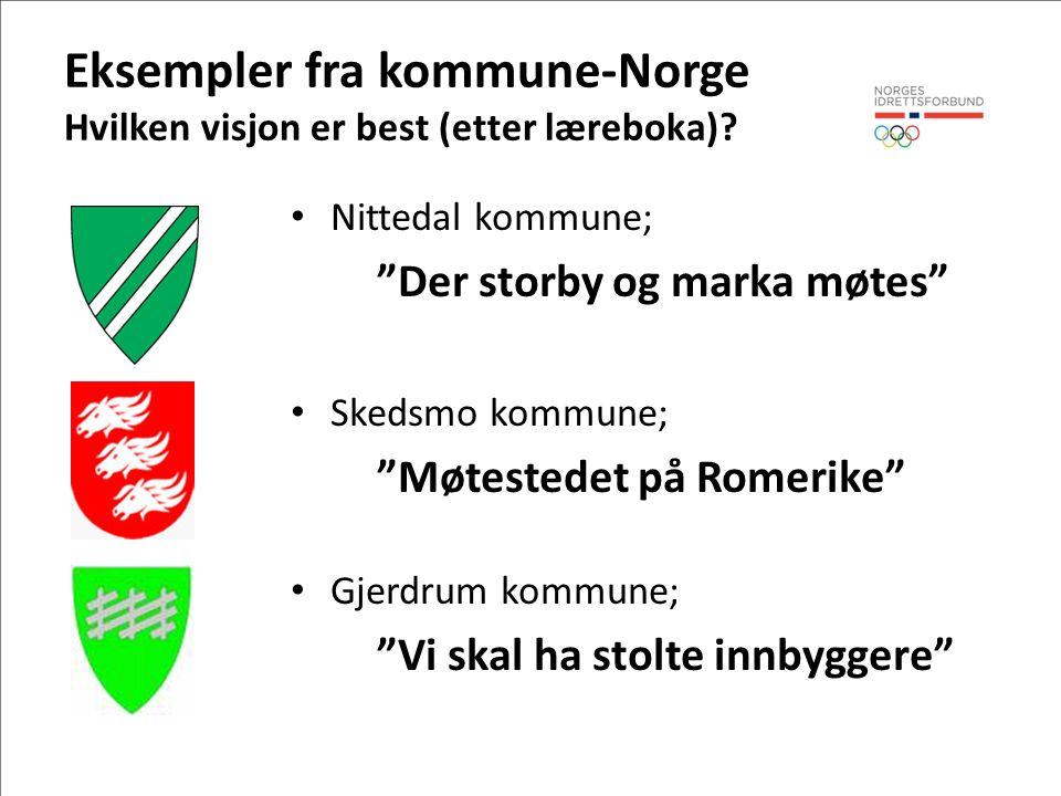 Eksempler fra kommune-Norge Hvilken visjon er best (etter læreboka).