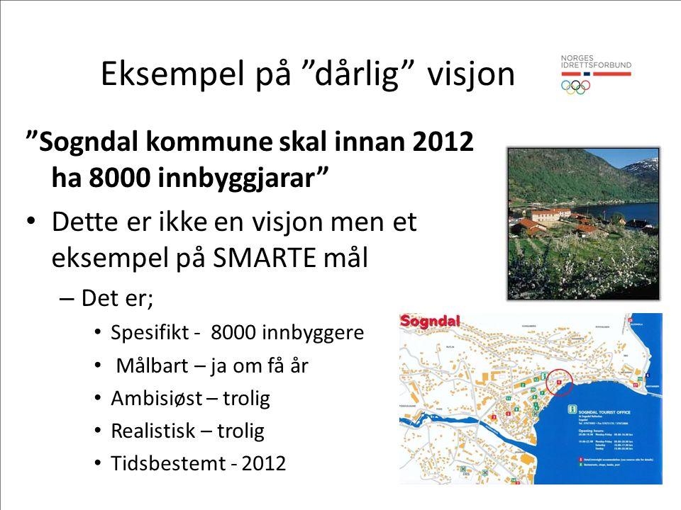 Eksempel på dårlig visjon Sogndal kommune skal innan 2012 ha 8000 innbyggjarar Dette er ikke en visjon men et eksempel på SMARTE mål – Det er; Spesifikt - 8000 innbyggere Målbart – ja om få år Ambisiøst – trolig Realistisk – trolig Tidsbestemt - 2012
