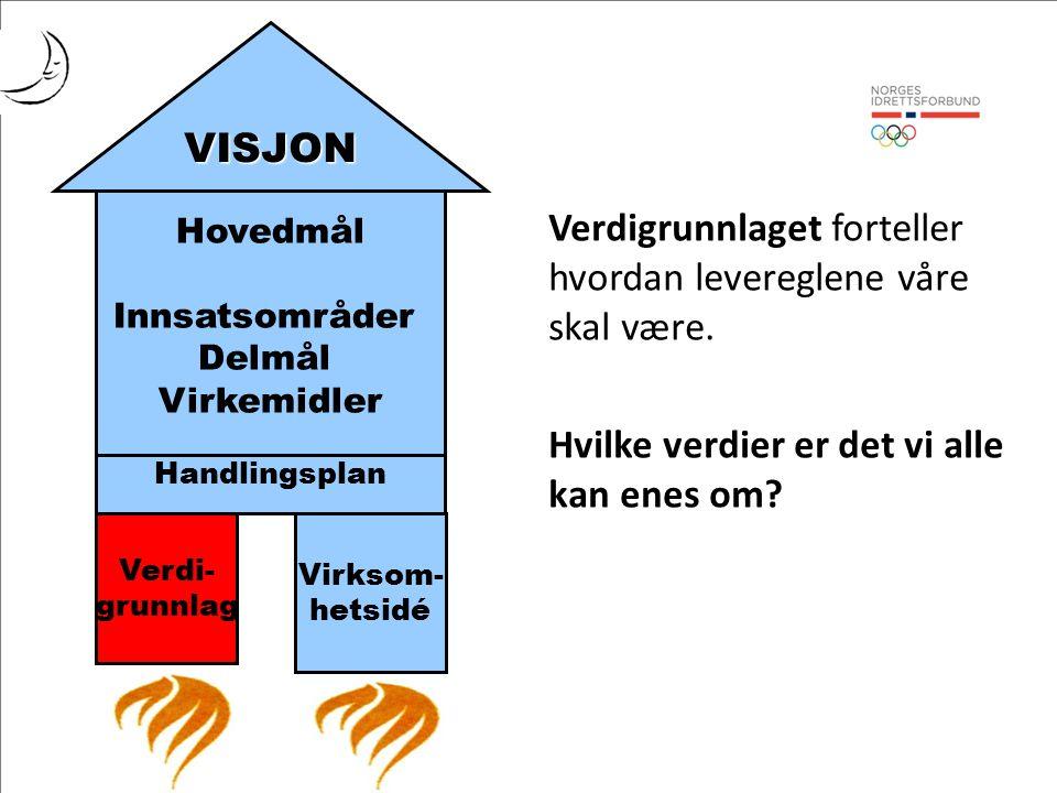 Hovedmål Innsatsområder Delmål Virkemidler Handlingsplan Verdi- grunnlag Virksom- hetsidé VISJON Verdigrunnlaget forteller hvordan levereglene våre skal være.