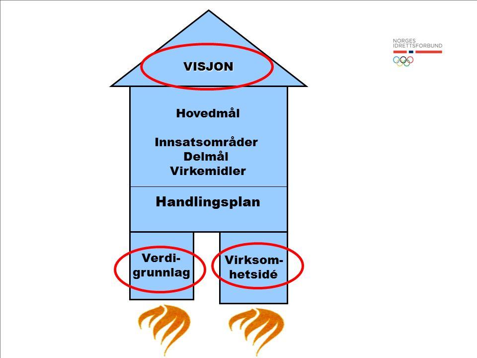 Hovedmål Innsatsområder Delmål Virkemidler Handlingsplan Verdi- grunnlag Virksom- hetsidé VISJON