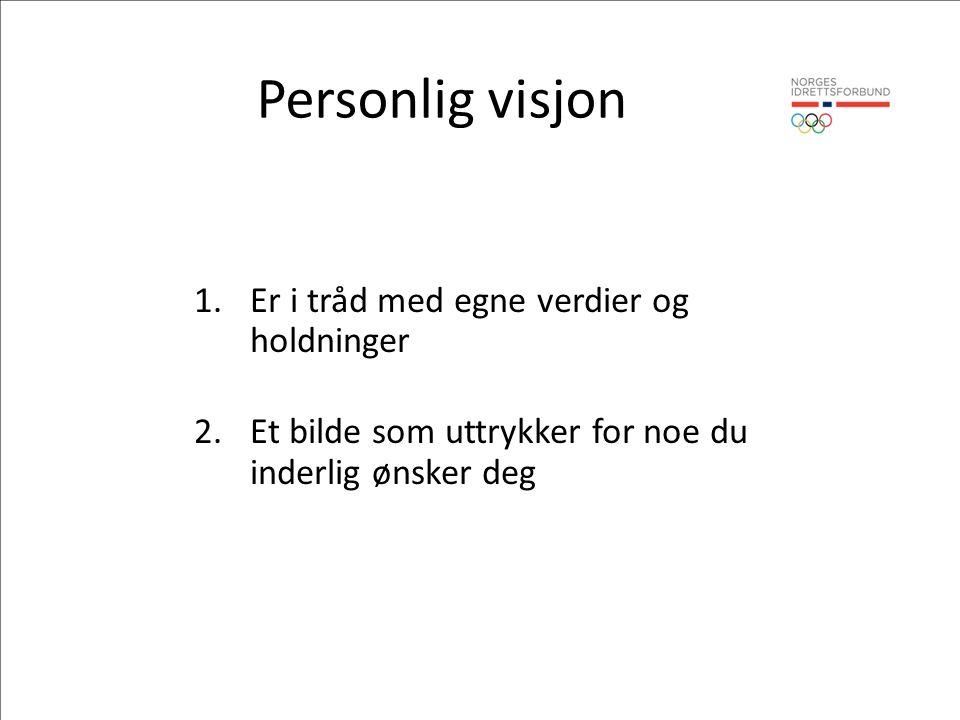 Personlig visjon 1.Er i tråd med egne verdier og holdninger 2.Et bilde som uttrykker for noe du inderlig ønsker deg