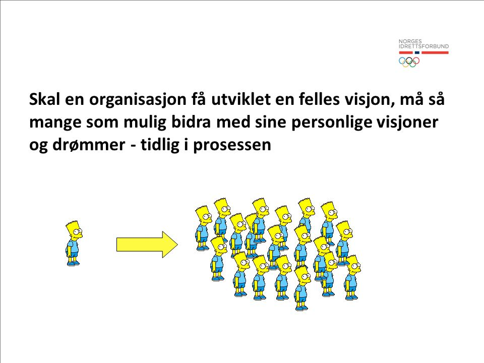 Skal en organisasjon få utviklet en felles visjon, må så mange som mulig bidra med sine personlige visjoner og drømmer - tidlig i prosessen
