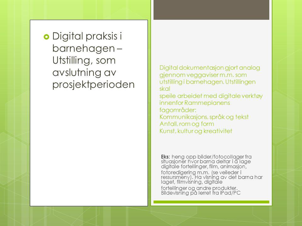  Digital praksis i barnehagen – Utstilling, som avslutning av prosjektperioden Digital dokumentasjon gjort analog gjennom veggaviser m.m.