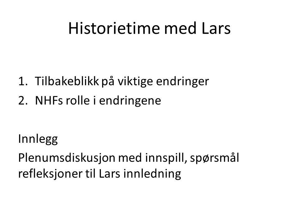 Historietime med Lars 1.Tilbakeblikk på viktige endringer 2.NHFs rolle i endringene Innlegg Plenumsdiskusjon med innspill, spørsmål refleksjoner til L