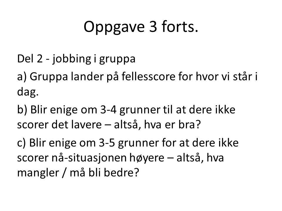 Oppgave 3 forts. Del 2 - jobbing i gruppa a) Gruppa lander på fellesscore for hvor vi står i dag. b) Blir enige om 3-4 grunner til at dere ikke scorer