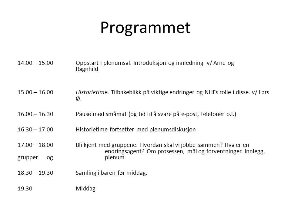 Programmet 14.00 – 15.00Oppstart i plenumsal. Introduksjon og innledning v/ Arne og Ragnhild 15.00 – 16.00Historietime. Tilbakeblikk på viktige endrin