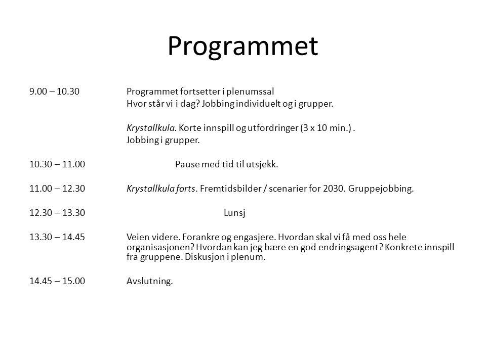 Programmet 9.00 – 10.30 Programmet fortsetter i plenumssal Hvor står vi i dag? Jobbing individuelt og i grupper. Krystallkula. Korte innspill og utfor
