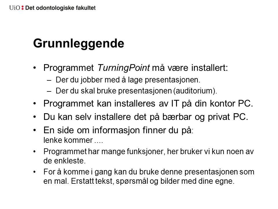 Grunnleggende Programmet TurningPoint må være installert: –Der du jobber med å lage presentasjonen.