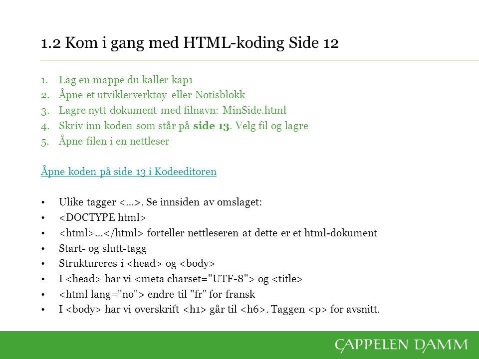 1.2 Kom i gang med HTML-koding Side 12 1.Lag en mappe du kaller kap1 2.Åpne et utviklerverktøy eller Notisblokk 3.Lagre nytt dokument med filnavn: MinSide.html 4.Skriv inn koden som står på side 13.