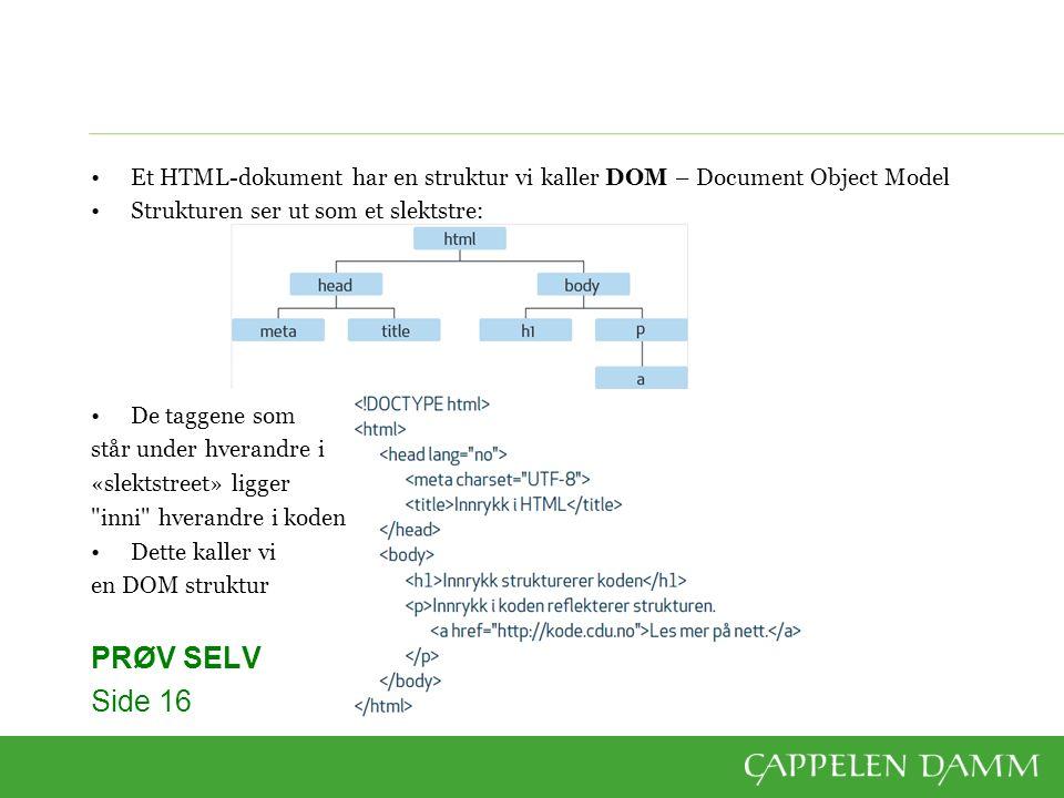 Et HTML-dokument har en struktur vi kaller DOM – Document Object Model Strukturen ser ut som et slektstre: De taggene som står under hverandre i «slektstreet» ligger inni hverandre i koden Dette kaller vi en DOM struktur PRØV SELV Side 16