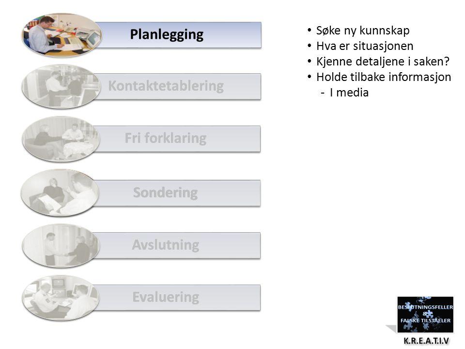 Planlegging Kontaktetablering Fri forklaring Avslutning Evaluering Kontaktetablering Fri forklaring Avslutning Evaluering Sondering Søke ny kunnskap Hva er situasjonen Kjenne detaljene i saken.