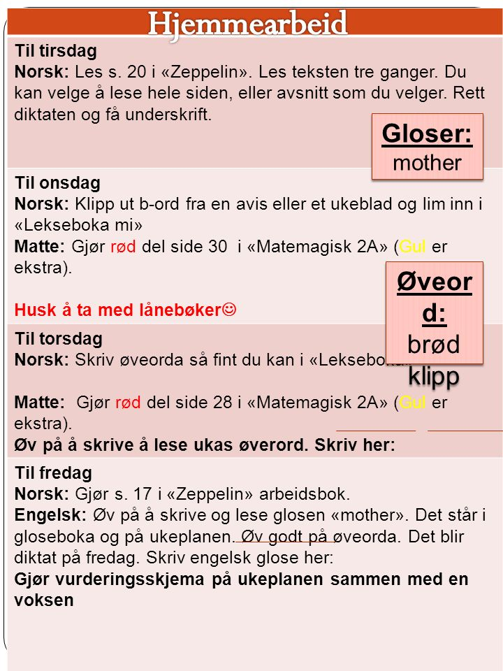 Til tirsdag Norsk: Les s.20 i «Zeppelin». Les teksten tre ganger.
