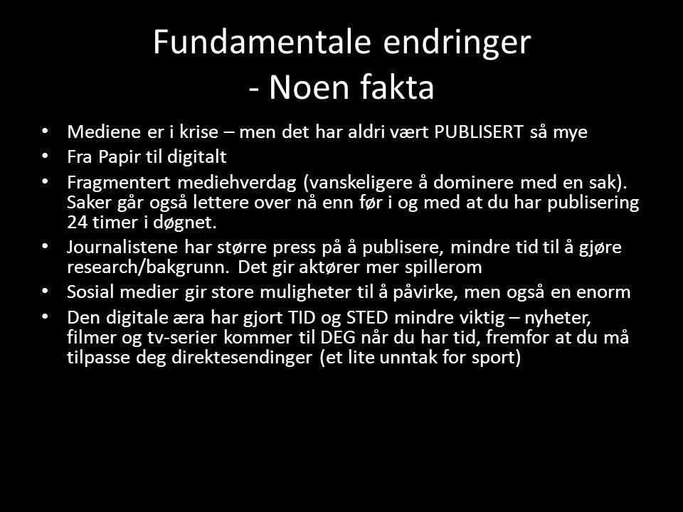 Fundamentale endringer - Noen fakta Mediene er i krise – men det har aldri vært PUBLISERT så mye Fra Papir til digitalt Fragmentert mediehverdag (vanskeligere å dominere med en sak).