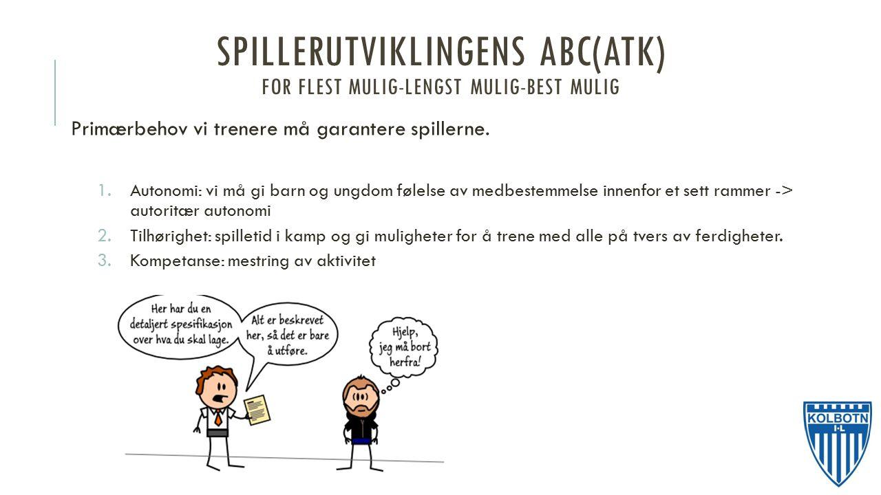 SPILLERUTVIKLINGENS ABC(ATK) FOR FLEST MULIG-LENGST MULIG-BEST MULIG Primærbehov vi trenere må garantere spillerne.