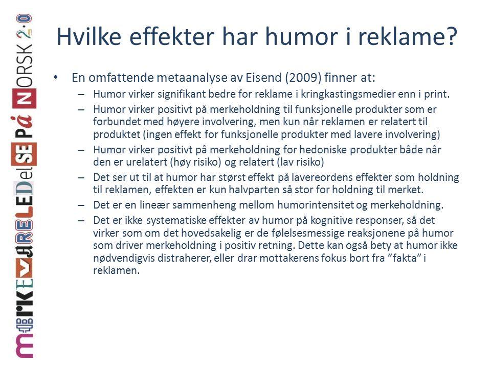 Hvilke effekter har humor i reklame.