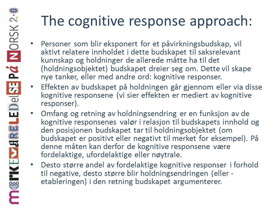 The cognitive response approach: Personer som blir eksponert for et påvirkningsbudskap, vil aktivt relatere innholdet i dette budskapet til saksrelevant kunnskap og holdninger de allerede måtte ha til det (holdningsobjektet) budskapet dreier seg om.