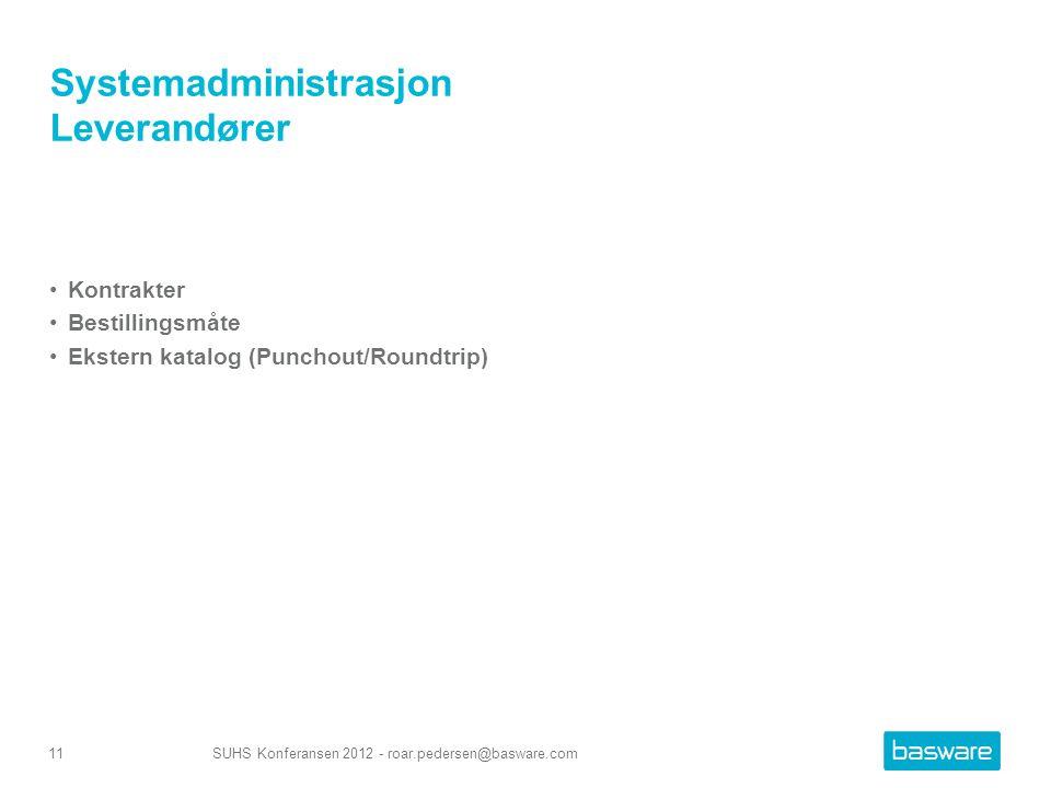 Systemadministrasjon Leverandører Kontrakter Bestillingsmåte Ekstern katalog (Punchout/Roundtrip) SUHS Konferansen 2012 - roar.pedersen@basware.com11