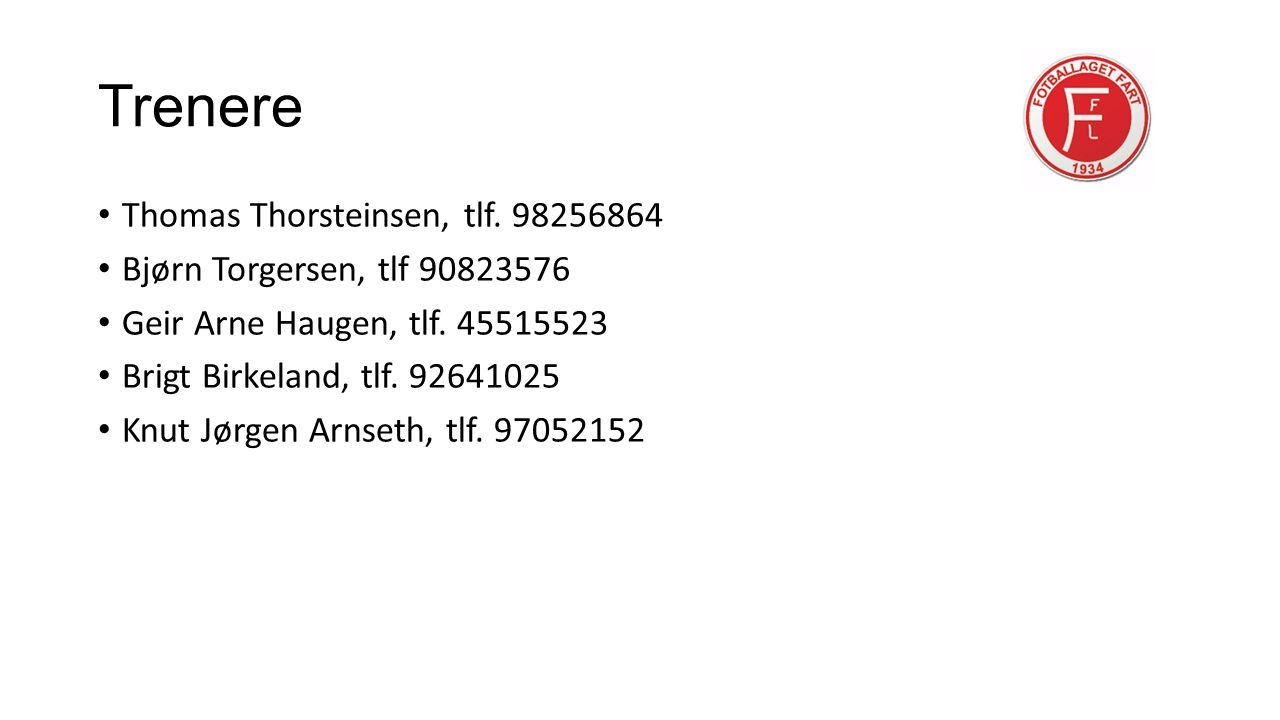 Trenere Thomas Thorsteinsen, tlf. 98256864 Bjørn Torgersen, tlf 90823576 Geir Arne Haugen, tlf.