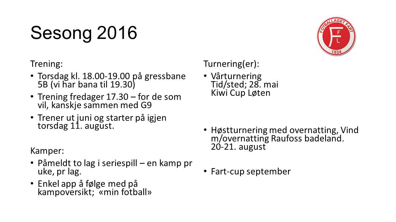 Sesong 2016 Trening: Torsdag kl.